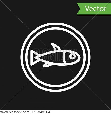 White Line Served Fish On A Plate Icon Isolated On Black Background. Vector.