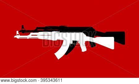 Assault Rifle. Flat Illustration Icon. Vector Illustration Of A Kalashnikov Ak-47 Assault Rifle. Wea