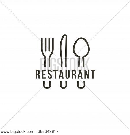Knife, Spoon And Spoon, Isolated Icon On White Background. Contour Cutlery, Simple Line Art Style Ve