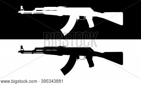 Assault Rifle. Flat Illustration Icon. Vector Illustration Of A Kalashnikov Ak-47 Assault Rifle. Set