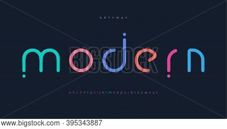Modern Colored Font For Logo On Black Background. Colorful Letters With Dots, Flat Cartoon Style Vec