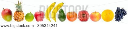 Tropical fruits and vegetables in row isolated on white background.