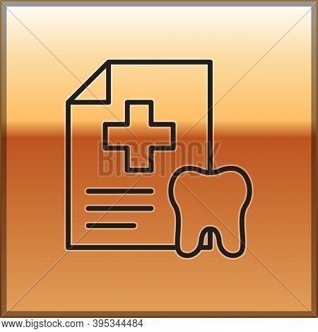 Black Line Clipboard With Dental Card Or Patient Medical Records Icon Isolated On Gold Background. D