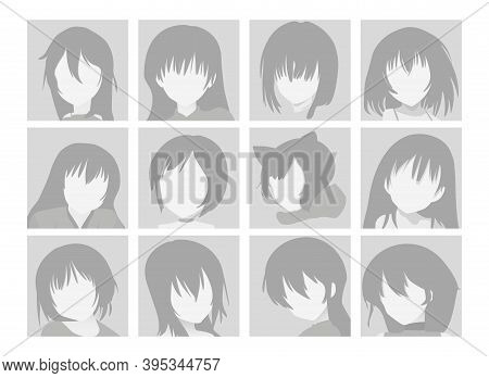 Vector Big Set Of Anime Faces With Hair. Flat Gray Icons Of Girls For Web And Mobile. Default Placeh