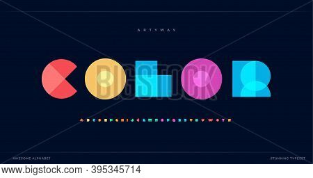 Overlay Colorful Alphabet. Color Overlap, Decorative Font, Geometric Type For Modern Color Logo, Abs