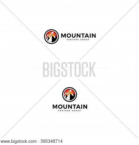 Mountain Icon. Circle Shape With Mountain Logo Concept For Venture Group, Finance Advisor, Adventure