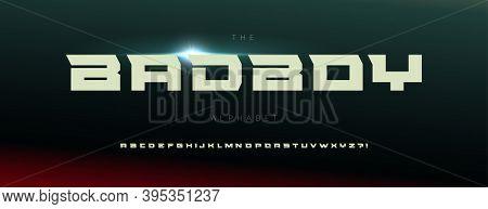 Extended Industrial Alphabet. Geometric Font, Minimal Type For Modern Futuristic Logo, Headline, Ext