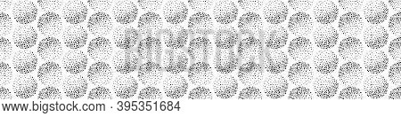 Vector Border With Abstract Black And White Dotted Circles And Texture Shading Effect. Seamless Mono