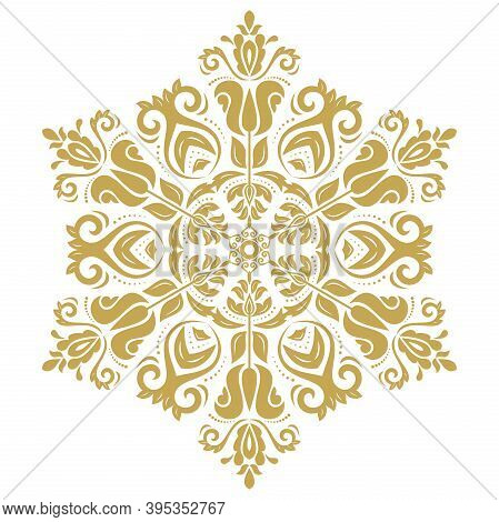 Oriental Vector Golden Round Pattern With Arabesques And Floral Elements. Traditional Classic Orname