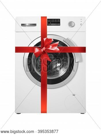 Major Appliance - Front View Washing Machine Gift Tied Red Bow Isolated On A White Background