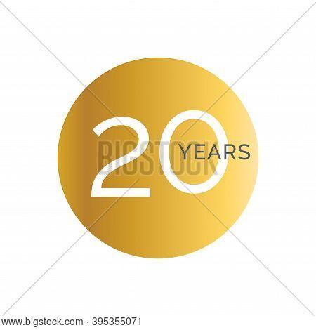 20th Anniversary Gold Banner Template, Twentieth Jubilee Labels, Business Birthday Logo, Vector Illu