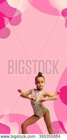 Little Caucasian Girl, Rhytmic Gymnast Training, Performing Isolated On Pink Studio Background With