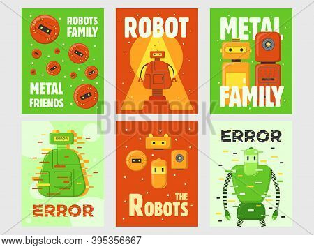 Robots Flyers Set. Humanoids, Cyborgs, Intelligent Machines Vector Illustrations With Text On Green