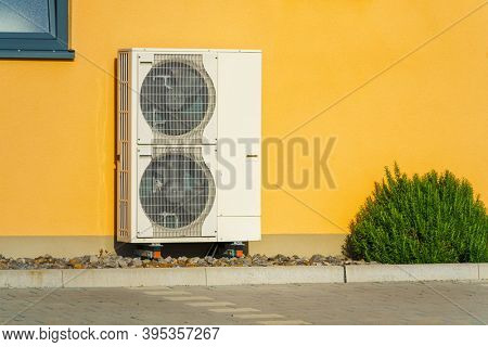 An image of a heat pump outside