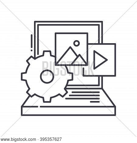 Content Production Concept Icon, Linear Isolated Illustration, Thin Line Vector, Web Design Sign, Ou