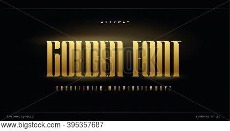 Golden Luxurious Alphabet. Elite And Premium Style Font For Logo, Elegant Monogrm And Decorative Let