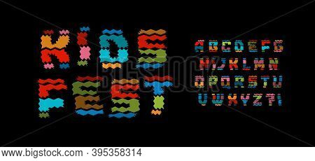Kids Fest Style Alphabet. Funny Colored Font, Colorful Woolen Texture Type For Children Logo, Carniv
