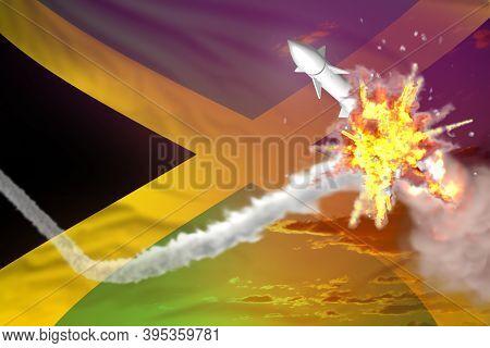 Jamaica Intercepted Nuclear Missile, Modern Antirocket Destroys Enemy Missile Concept, Military Indu