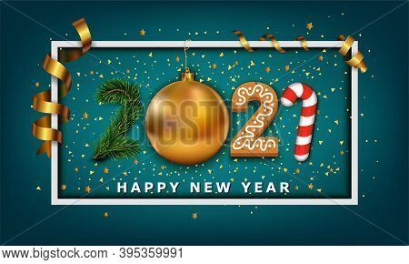 Vector Happy New Year Background. 2021 Number Made From Golden Christmas Ball Bauble, Stripes Elemen