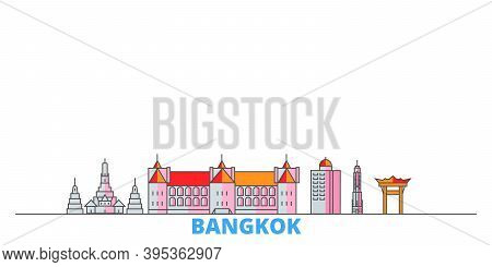 Thailand, Bangkok City Line Cityscape, Flat Vector. Travel City Landmark, Oultine Illustration, Line