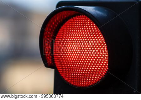 Traffic Light With Red Light. Traffic Light Signal Semaphore Close Up Isolated.