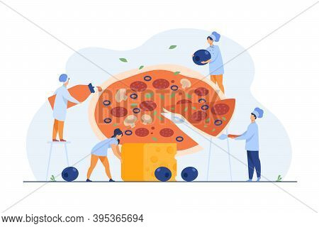 Tiny Professional Cooks Preparing Tasty Pizza Isolated Flat Vector Illustration. Cartoon Character T