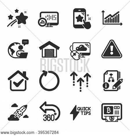 Set Of Technology Icons, Such As Loop, Graph, Quickstart Guide Symbols. Cloud Computing, Report Stat