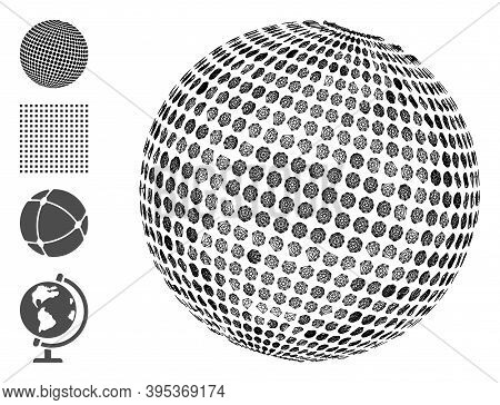 Vector Wire Frame Abstract Dotted Sphere. Geometric Wire Carcass 2d Network Made From Abstract Dotte