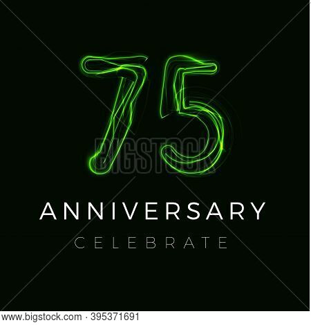 Seventy Five Anniversary Poster For Party. 75th Years Sign. Seventy Seventy-fifth Birthday Celebrate