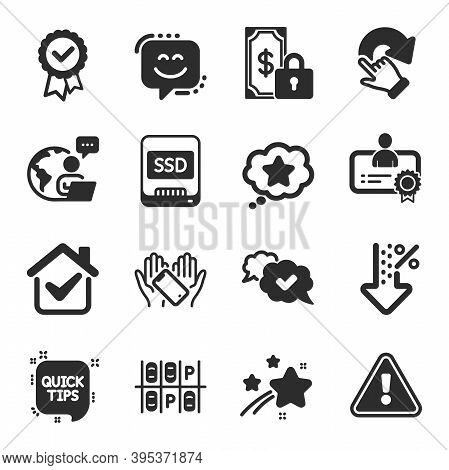 Set Of Technology Icons, Such As Rotation Gesture, Ssd, Quick Tips Symbols. Loyalty Star, Certificat