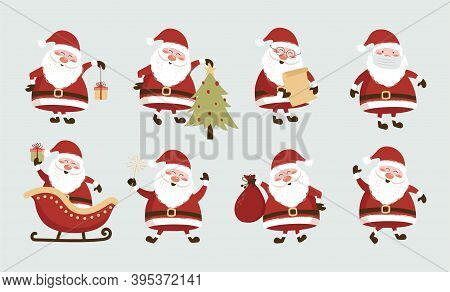 Collection Of Christmas Santa Claus. Funny Santa Claus Different Character. Happy Santa Claus Cartoo