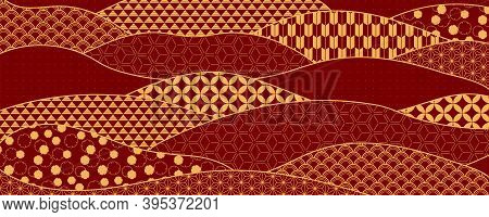 Traditional Oriental Patterns Abstract Background, Gold On Red. Oriental Style Vector Illustration.