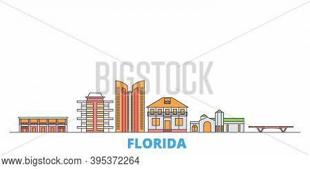 United States, Fort Lauderdale Line Cityscape, Flat Vector. Travel City Landmark, Oultine Illustrati