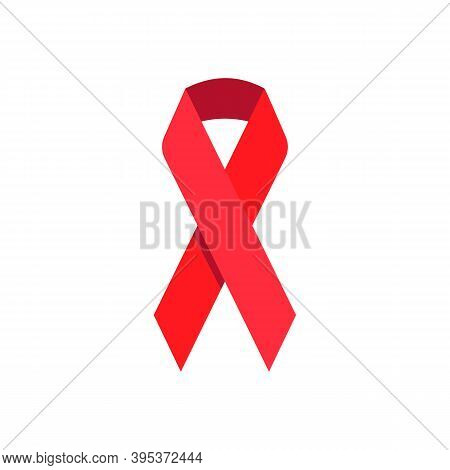 Red Aids Awareness Ribbon Icon. Stop Hiv. World Aids Day Vector Symbol Isolated On White Background.