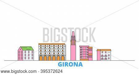 Spain, Girona Line Cityscape, Flat Vector. Travel City Landmark, Oultine Illustration, Line World Ic