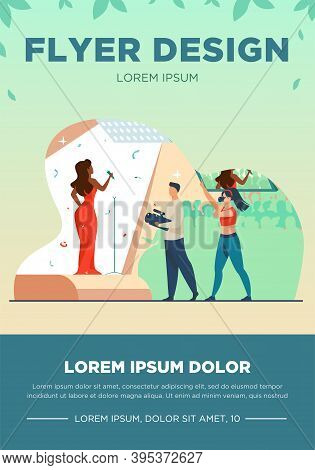 Cameraman And Photographer Shooting Performer. Woman With Mic Singing On Stage Flat Vector Illustrat