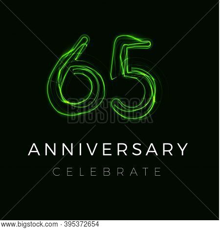 Sixty Five Anniversary Poster For Party. 65 Years Sign. 65th Birthday Celebrate. Vector Illustration