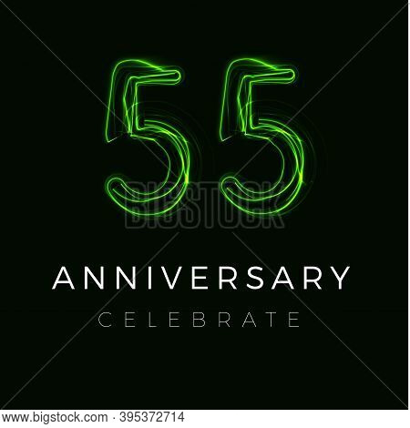 Fifty Five, Fifty Fifth Anniversary Poster For Party. 55 Years Sign. 55th Birthday Celebrate. Vector