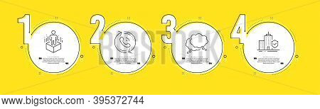 Call Center, Augmented Reality And Speech Bubble Line Icons Set. Timeline Process Infograph. Apartme