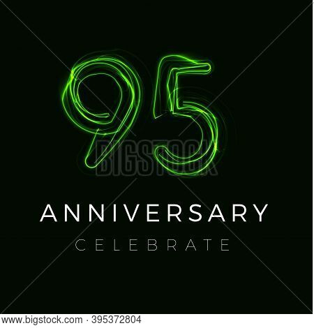 Ninety Five Anniversary Poster For Party. 95 Years Sign. 95th Birthday Celebrate. Vector Illustratio