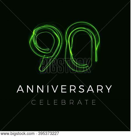 Ninety Anniversary Poster For Party. 90th Years Sign. Ninetieth Birthday Celebrate. Discount Ninety