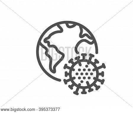 Coronavirus Pandemic Line Icon. Covid Virus Sign. Global Infection Symbol. Quality Design Element. L