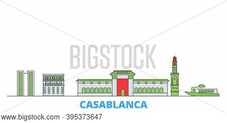 Morocco, Casablanca Line Cityscape, Flat Vector. Travel City Landmark, Oultine Illustration, Line Wo