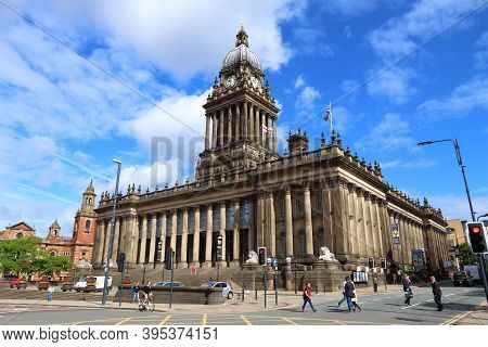Leeds, Uk - July 12, 2016: People Visit City Hall In Leeds, Uk. Leeds Urban Area Has 1.78 Million Po