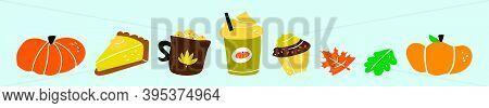 Pumpkin Spice. Various Tasty Stuff. Cartoon Icon Design Template With Various Models. Modern Vector