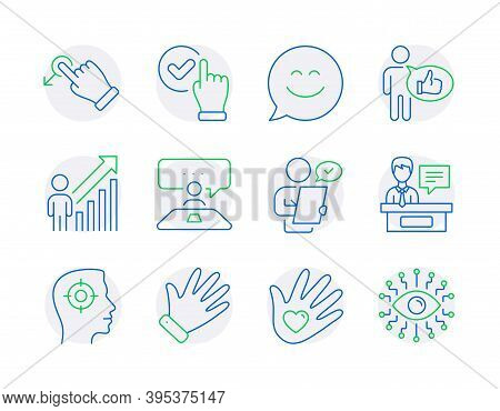 People Icons Set. Included Icon As Smile Chat, Checkbox, Social Responsibility Signs. Interview Job,