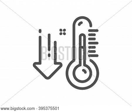 Low Thermometer Line Icon. Temperature Diagnostic Sign. Fever Measuring Symbol. Quality Design Eleme