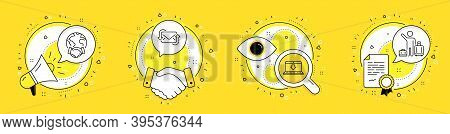 Refresh Mail, Global Business And Internet Downloading Line Icons Set. Megaphone, Licence And Deal V