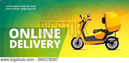 Realistic Concept Of Online Delivery With Bike For Delivery Service, E-commerce, Online Shopping, De