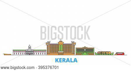 India, Kerala Line Cityscape, Flat Vector. Travel City Landmark, Oultine Illustration, Line World Ic